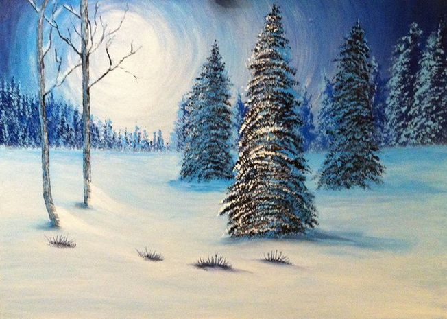 Acrylic  on Canvas  60 x 80 cm By Me: Anne G. Ljostad​ #Art #Acryli Painting #winter #forrest #bluemoon #Fevik #Grimstad