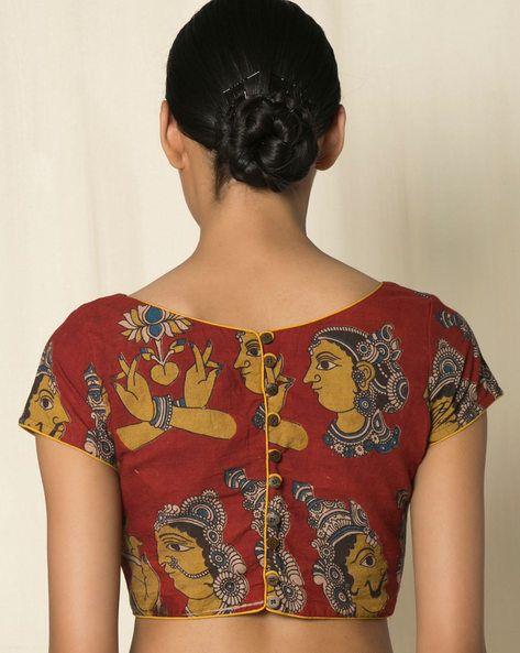 Buy Red Indie Picks Kalamkari Print Cotton Blouse | AJIO
