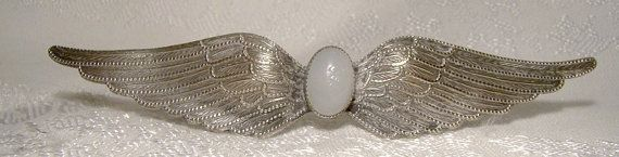 Edwardian Angel Wings Silver Plated Pin or by FionaKennyAntiques