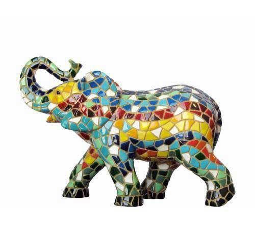 Elefante con la Trompa Hacia Arriba. Barcino. 20cm