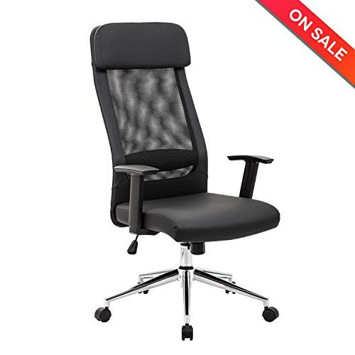 LCH Extra High Back Mesh Office Chair - Computer Desk Task Chair with Padded Leather Headrest and Seat,Adjustable Armrest,Ergonomic Design for Back Lumbar Support, Black.