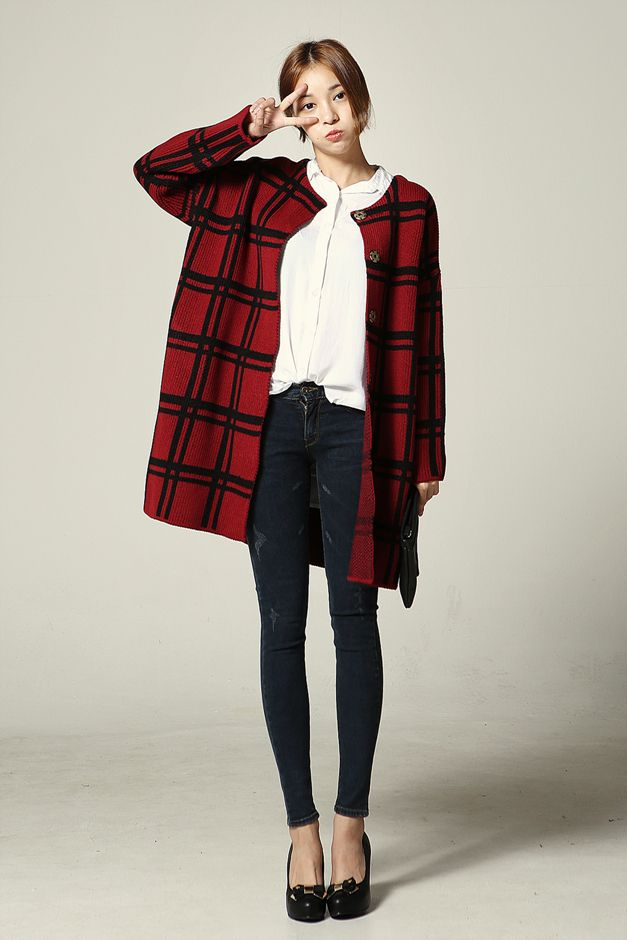 Another Fall / winter outfit - Oversize red plaid coat black skinny jeans and heels (korean ...