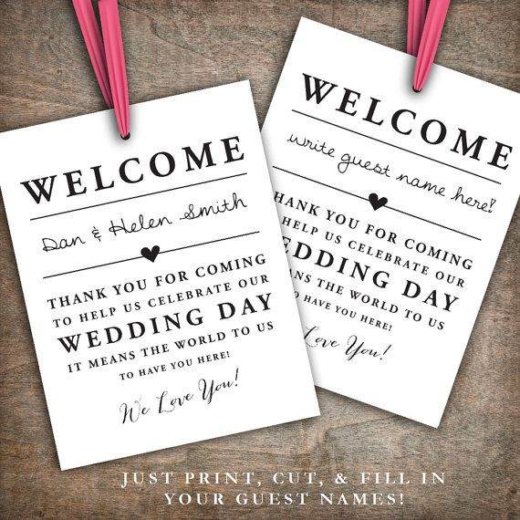 Welcome To Our Wedding Weekend Gift Bags: INSTANT DOWNLOAD Printable Wedding Welcome Bag Tags