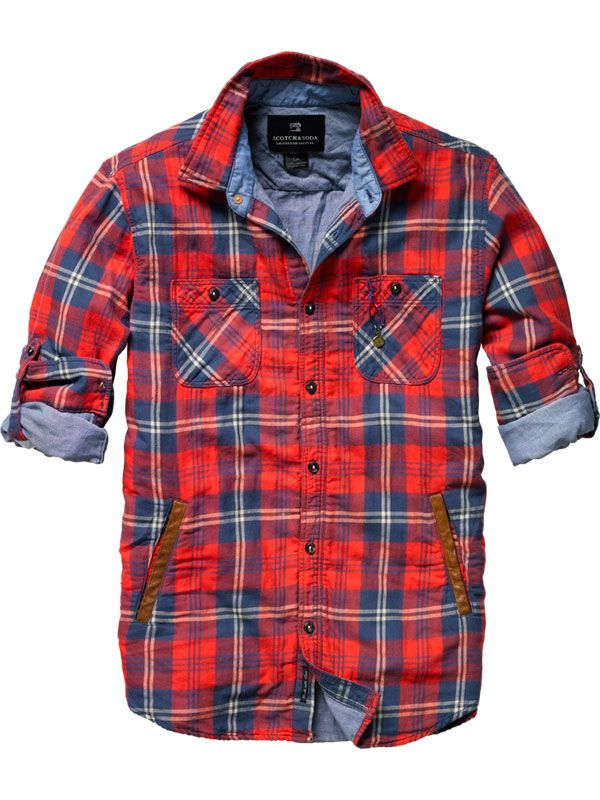 Scotch & Soda Checkered Shirt with Leather Welt Pocket