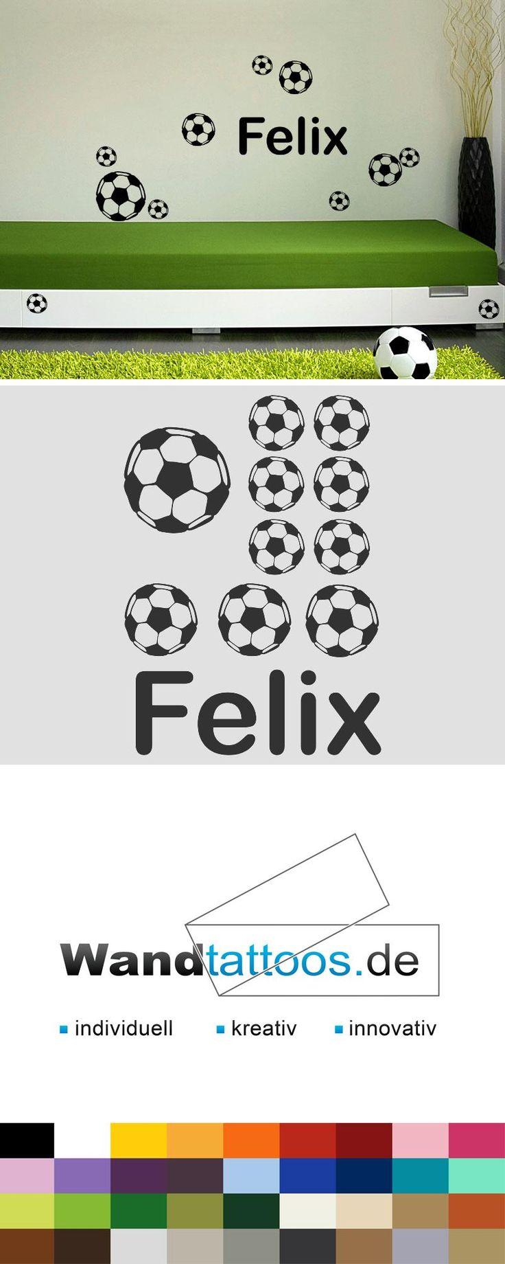 Wandtattoo Fußball-Set mit Wunschname als Idee zur individuellen Wandgestaltung. Einfach Lieblingsfarbe und Größe auswählen. Weitere kreative Anregungen von Wandtattoos.de hier entdecken!