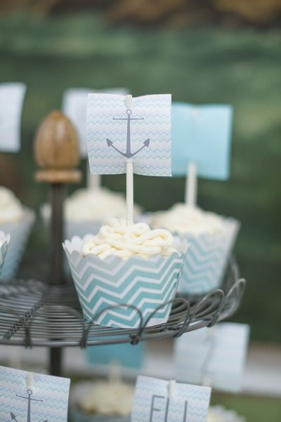 Boy's Nautical Birthday Party Cupcake Ideas