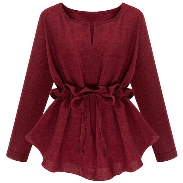 Womens Plain Plus Size Ruffle Waist Long Sleeve Blouse Ruby ($25) ❤ liked on Polyvore featuring tops, blouses, shirts, womens tops, ruby, plus size shirts, red shirt, red blouse, long-sleeve shirt and red ruffle blouse