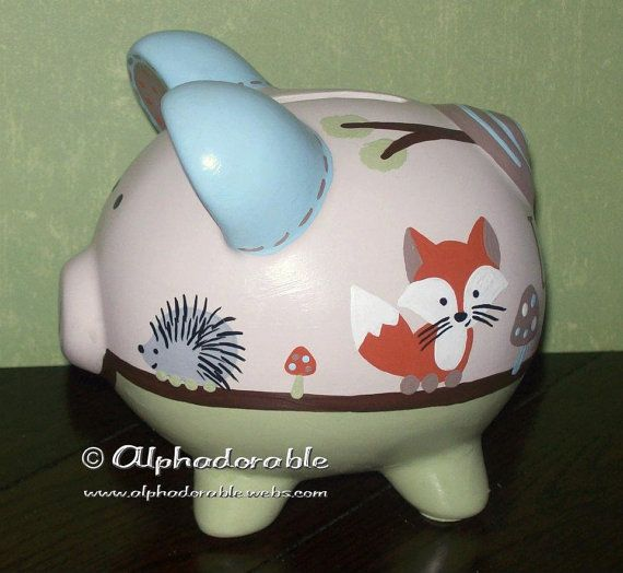 Custom, hand painted ceramic personalized piggy bank Forest Friends by Carter's design small 5""