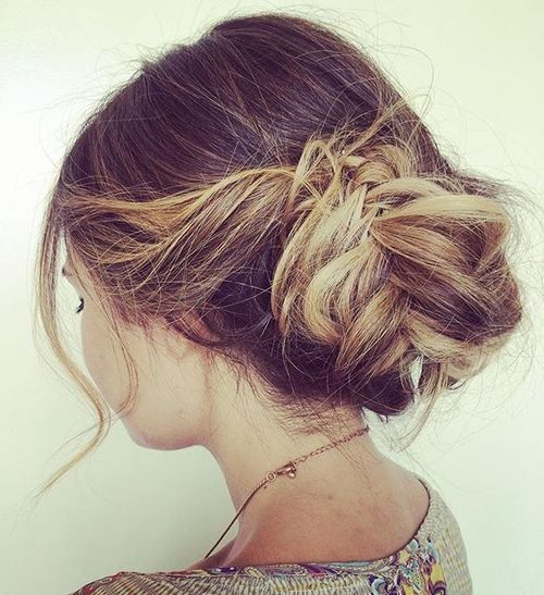 low messy updo with fishtail