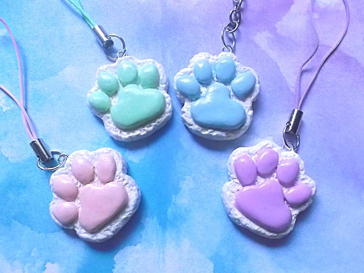 Kawaii pastel goth paw print clay charms …