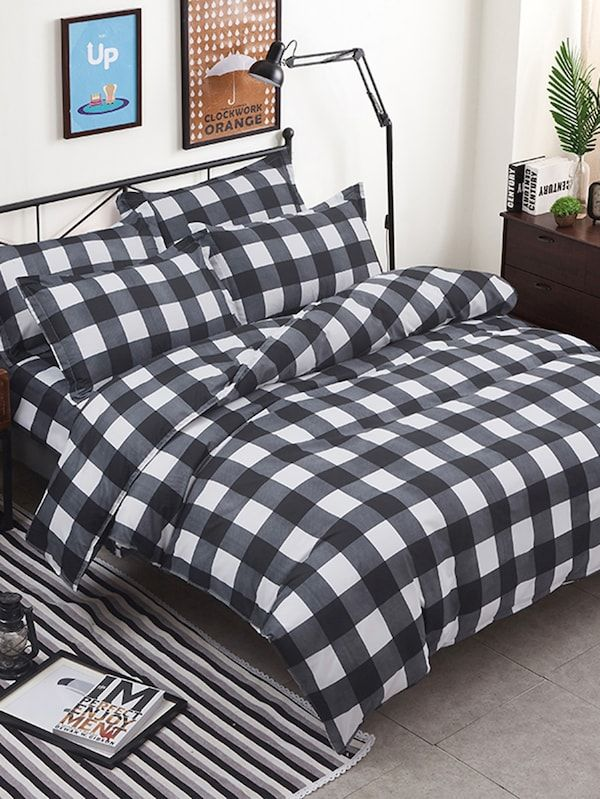 6d518e6271 Plaid Duvet Cover & Sheet & Sham Set -SheIn(Sheinside) | Bedroom ...