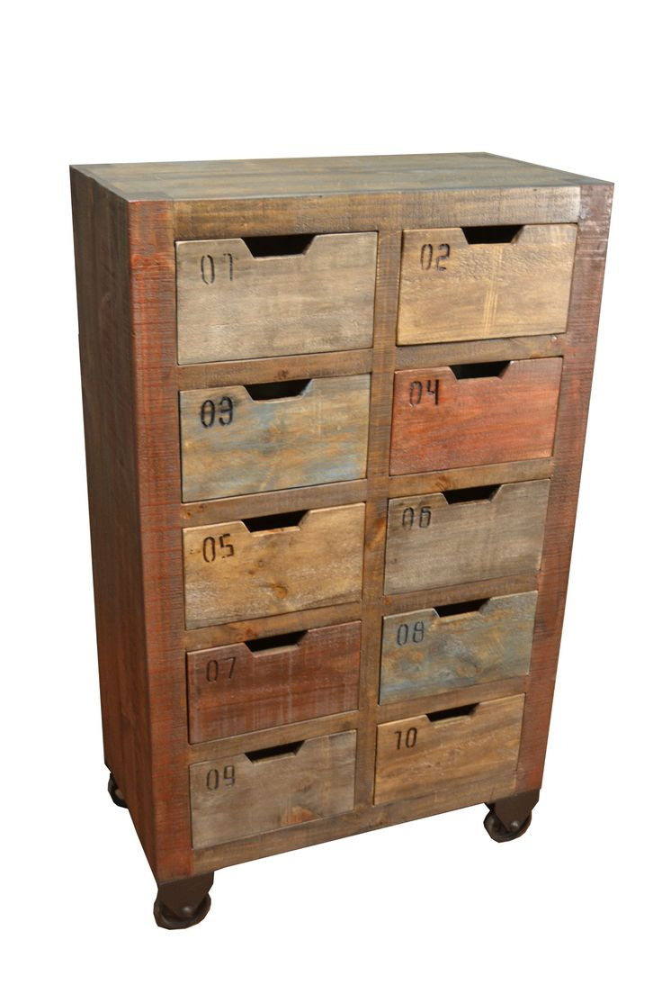 bayshore countdown console with 10 drawers multi color reclaimed wood furniturerefinished