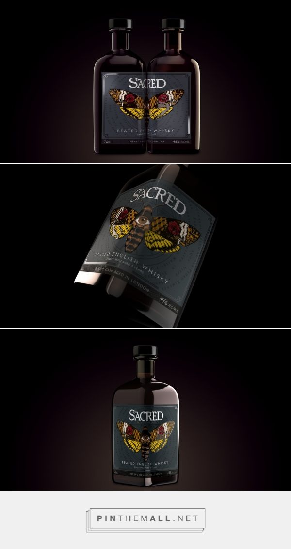 Sacred Spirits English Peated Whisky packaging design by Hart And Jones - http://www.packagingoftheworld.com/2017/10/sacred-spirits-english-peated-whisky.html