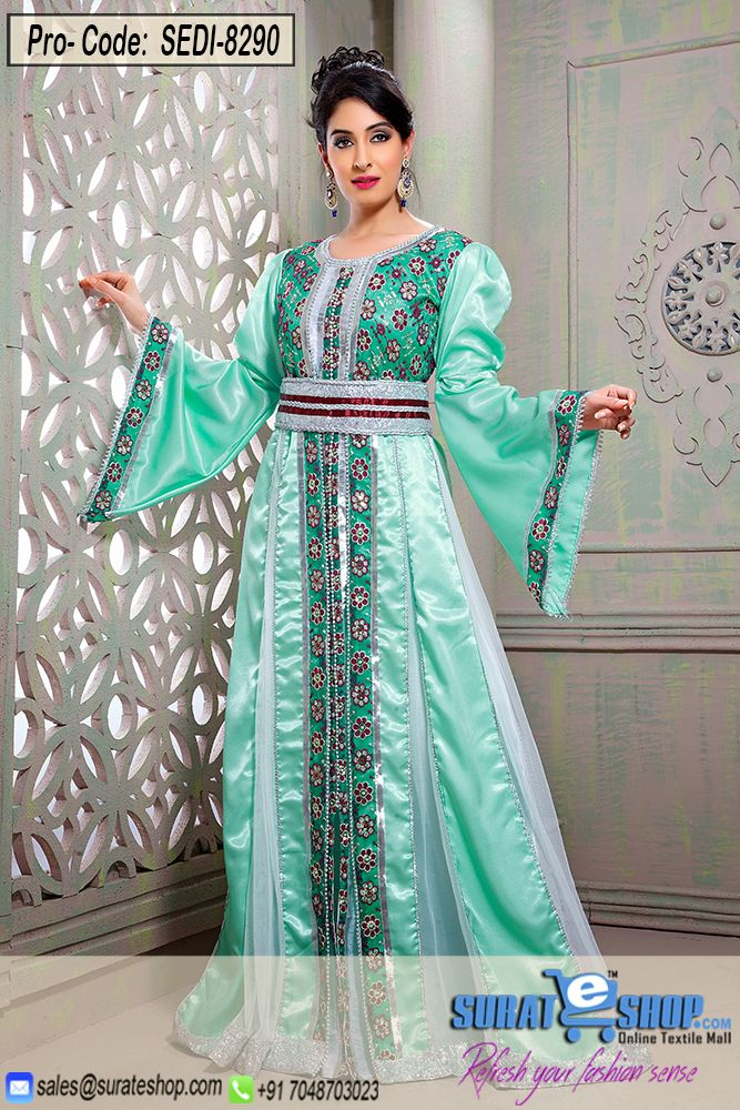 Make The Heads Turn As Soon As You Costume Up With This Enticing Mint Green Brocade, Silk Gown. This Pretty Attire Is Showing Some Incredible Embroidery Done With Bead, Lace, Resham Work. Brocade Might Vary From Actual Image. Paired With A Matching   Visit: http://surateshop.com/product-details.php?cid=2_27_47&pid=11877&mid=0