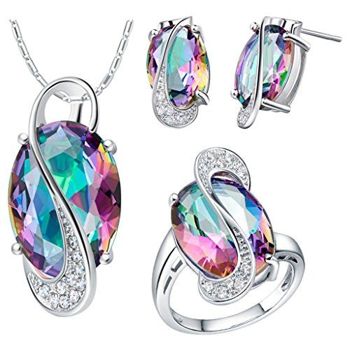 Tailloday New Fashion Crystal 925 Silver Jewlery Set Necklaces  Earrings Pendants Rings for Women Multicolor 6 >>> You can get additional details at the image link.