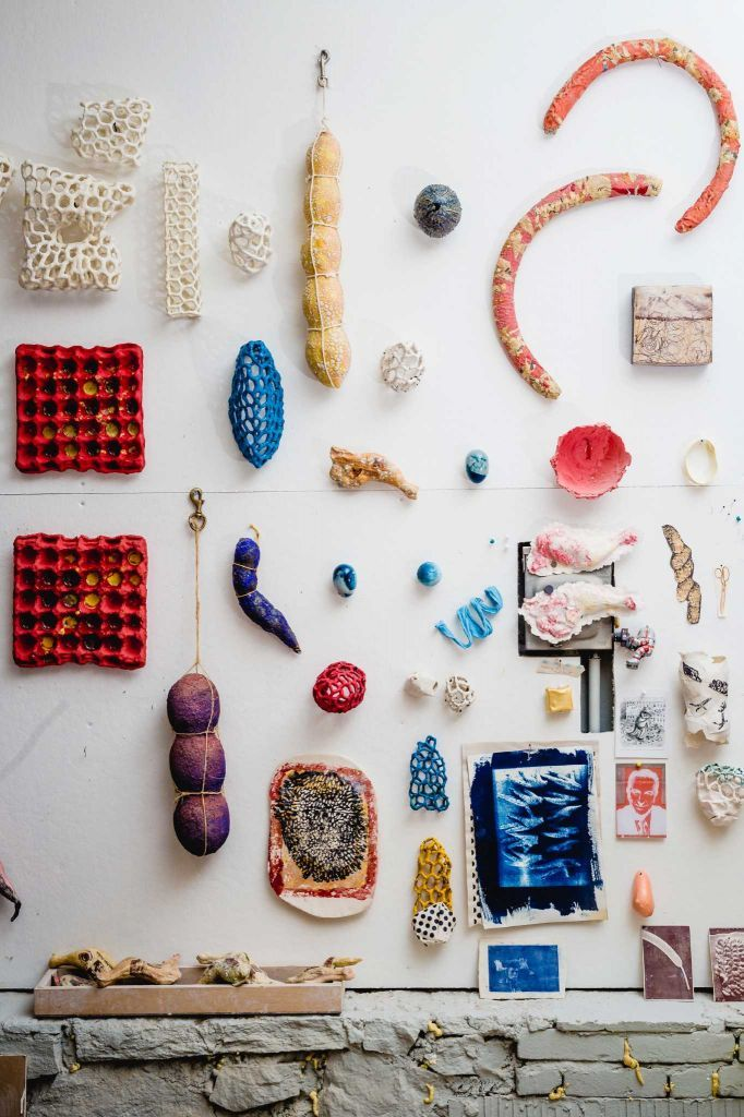 Ceramic artist Jackie Welsh's wall of art. Photo: Chris Setter / For Hearst Connecticut Media