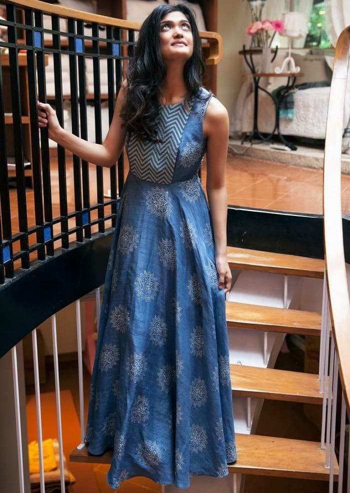 Blue Printed Sleeveless Long Kurti