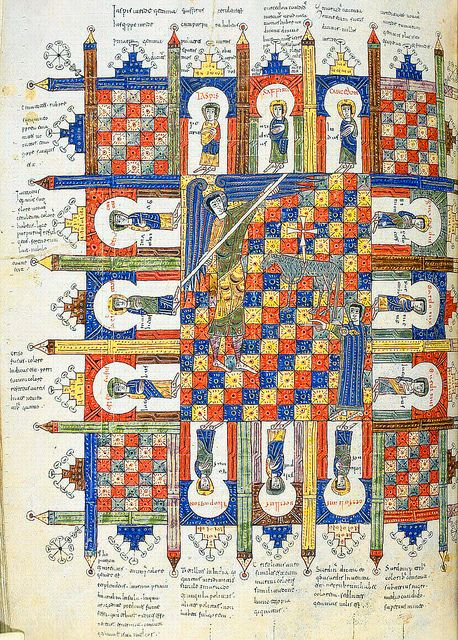 """The heavenly Jerusalem"", Commentary on the Apocalypse, in ""Beatus de Liebana; 'Silos Apocalypse'"", fol-208r, London British Library - Add. MS 11695, Northern Spain, c.1100"