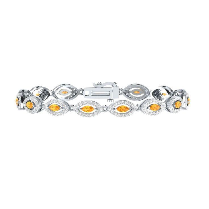 "4.50 Ct Orange Citrine W/ White Sapphire Sterling Silver Link Tennis 7"" Bracelet #braceletrealgold #Tennis"