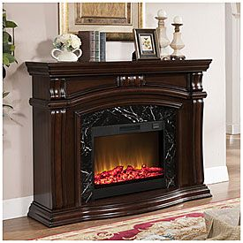 "62"" Grand Cherry Fireplace at Big Lots."