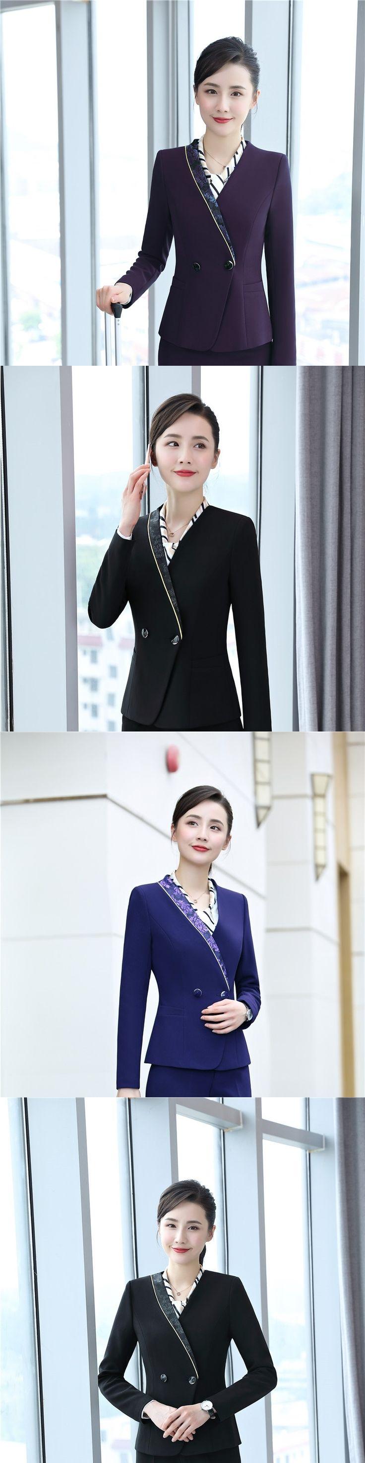 New Novelty Purple Formal Uniform Styles Autumn Winter Jackets Coat Ladies Office Work Outwear Female Tops Clothes Plus Size