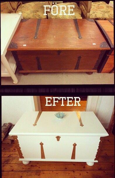 Om målad kista som blivit till soffbord