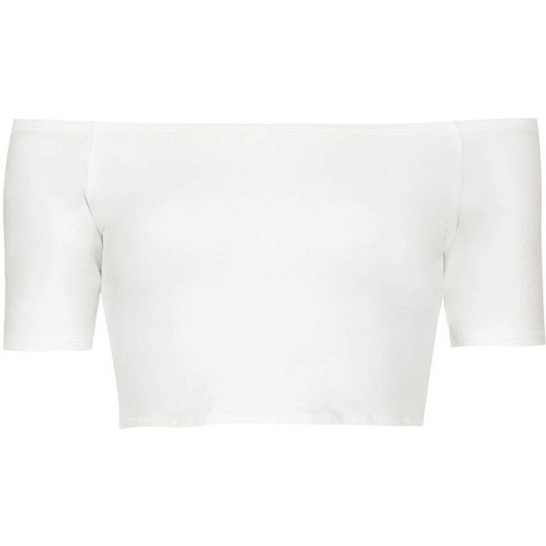 TOPSHOP Petite Bardot Crop Top ($13) ❤ liked on Polyvore featuring tops, crop top, cream, petite, cropped tops, short sleeve tops, petite tops, cream crop top and petite short sleeve tops