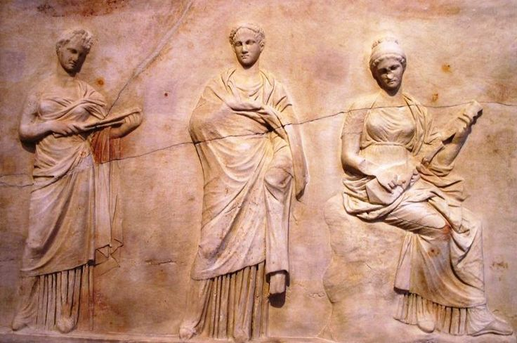 Three Muses from the Mantinea statue base for statues of ...