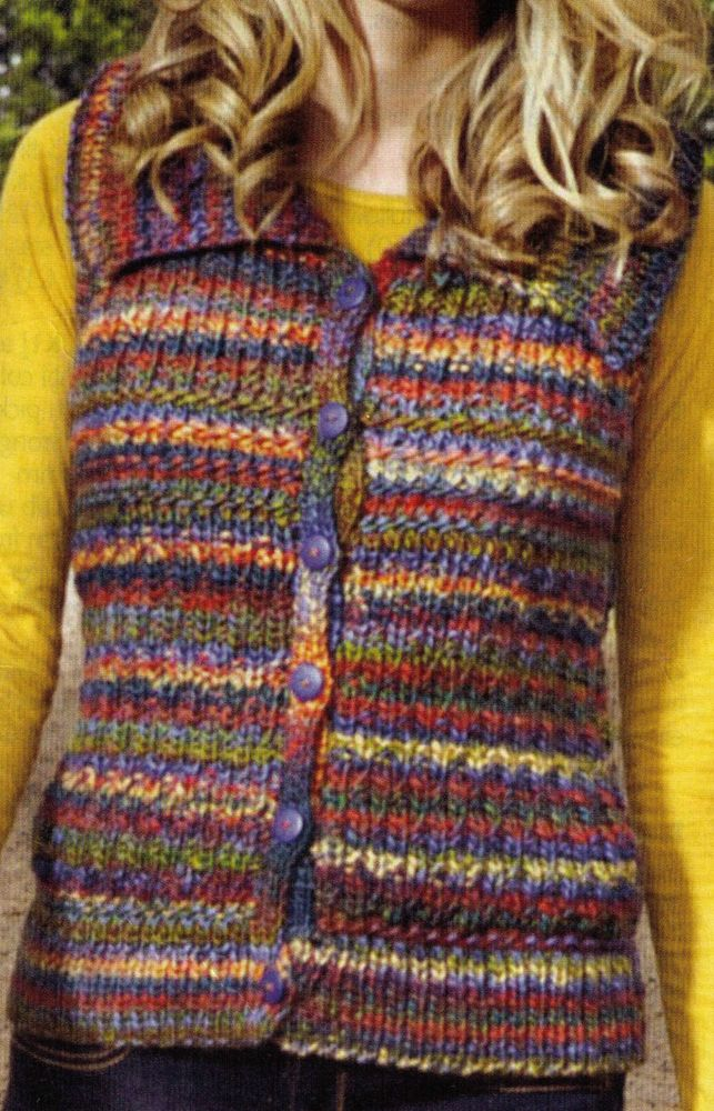 WOMEN'S BRIGHT AND WARM WAISTCOAT OR A BODY WARMER SIZES FROM 81-107 CM'S  8-12 PLY (CHUNKY) KNITTING PATTERN ONLY