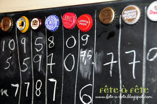 Beer tasting party idea - rating system for beers using the bottle caps & chalkboard