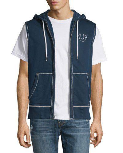 True+Religion+Contrast+Stitch+Sleeveless+Hoodie+|+Top,+Sweatshirt+and+Clothing