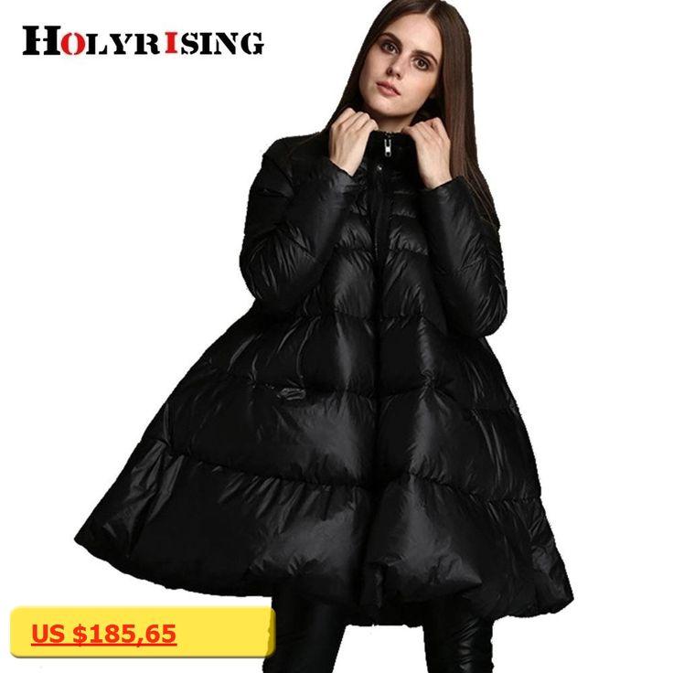 fashion winter women jackets cloak type long coats white duck down parka  stand collar warm coats