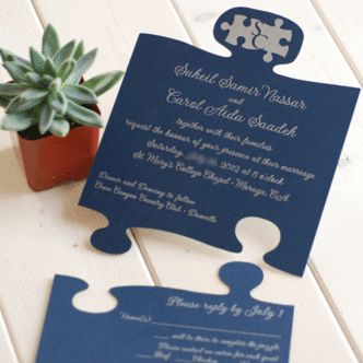 Puzzle pieces. This is such a creative wedding invitation!