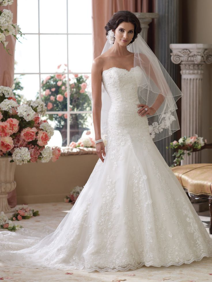 Elegant David Tutera for Mon Cheri u Gretna Strapless lace wedding dress with tulle