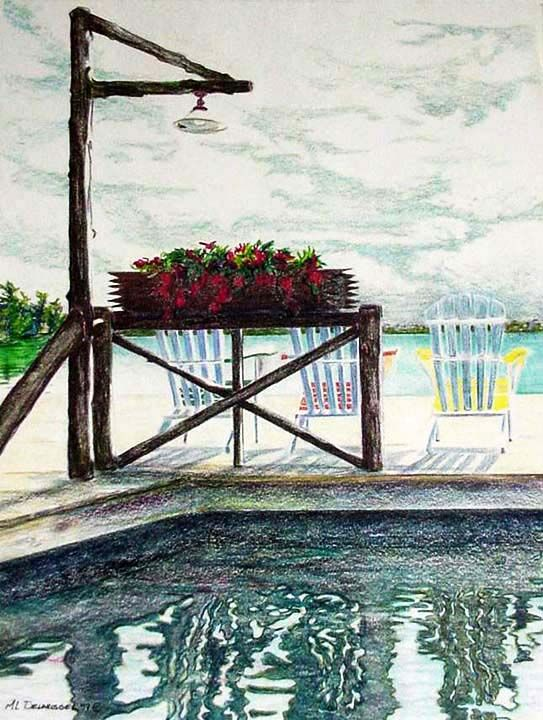 Mary Louise Delarosbel. Color pencil. Severn Lodge, Gloucester Pool