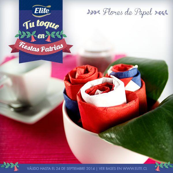 Flores de Papel hechas con servilletas ELITE FIESTAS PATRIAS 2014