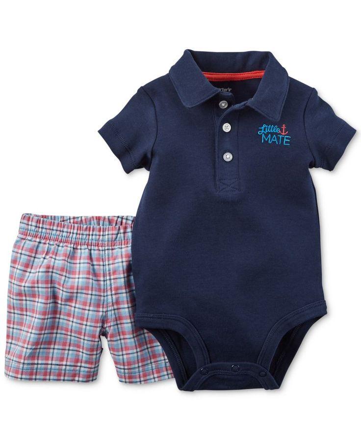 Carter's Baby Boys' 2-Piece Navy Polo Bodysuit & Plaid-Print Shorts Set