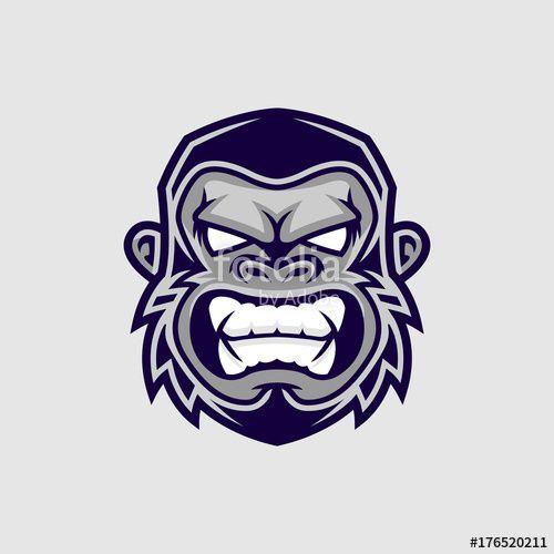 Vector: Gorilla head vector, monkey head vector, ape face logo