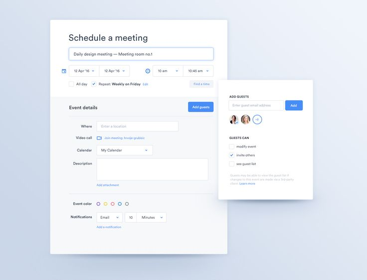 Meeting calendar schedule ui ux app dropdown calendar simple flat design