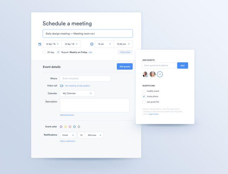Meeting calendar schedule ui ux app dropdown calendar simple flat design