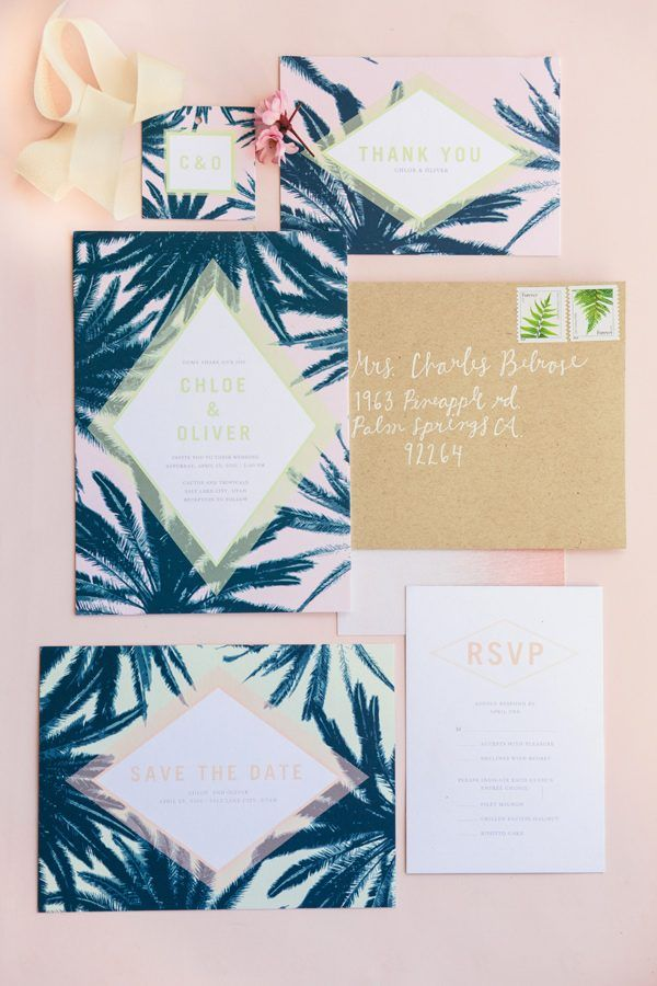 tropical wedding invitations - photo by Green Apple Photography http://ruffledblog.com/tropical-greenhouse-wedding-ideas