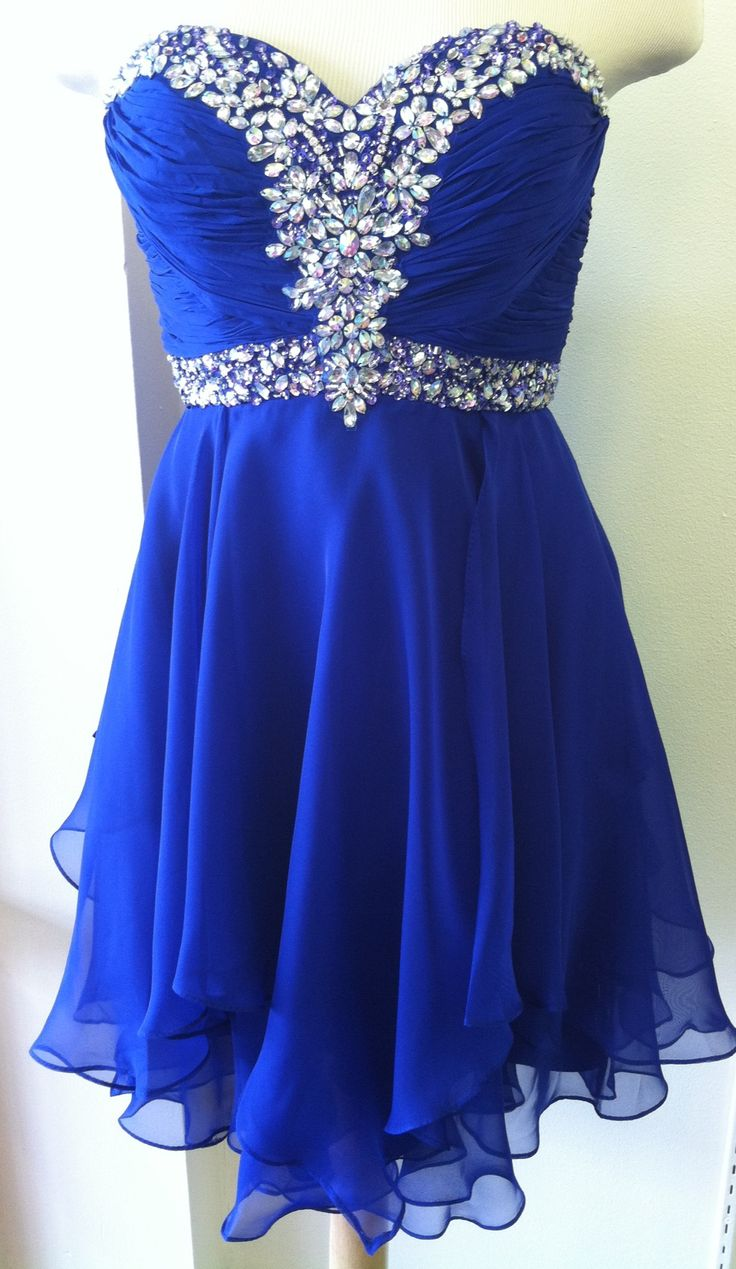 Short Royal Blue Chiffon Homecoming Dresses Mini Crystals