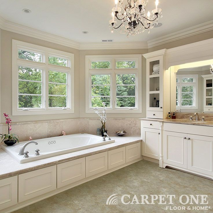 Vinyl Is Perfect For Bathrooms Looks Like Tile But Warmer Underfoot Learn More About