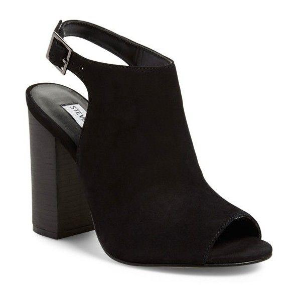 Women's Steve Madden 'Claara' Block Heel Sandal (120 PAB) ❤ liked on Polyvore featuring shoes, sandals, black nubuck, block heel shoes, cutout sandals, open toe shoes, nubuck shoes and black open toe sandals
