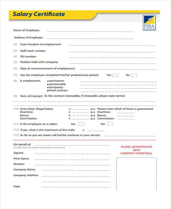 Salary Certificate Sample Is Prepared By Human Resource Department
