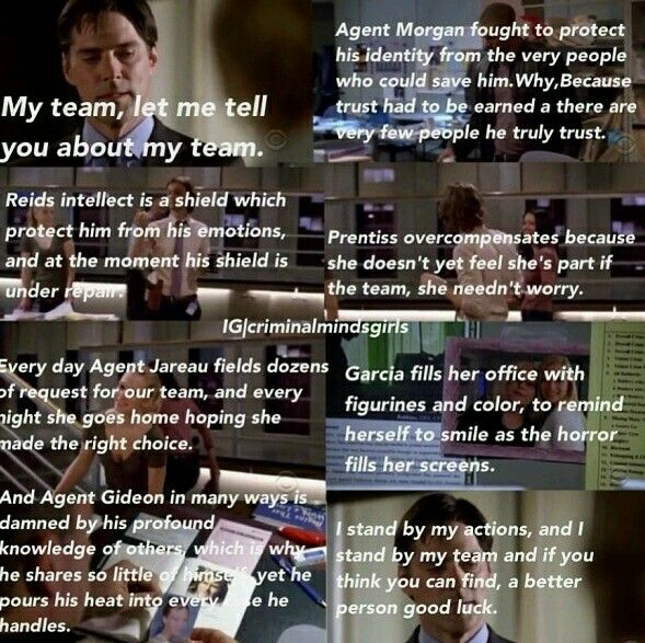 Hotch talking about the team.