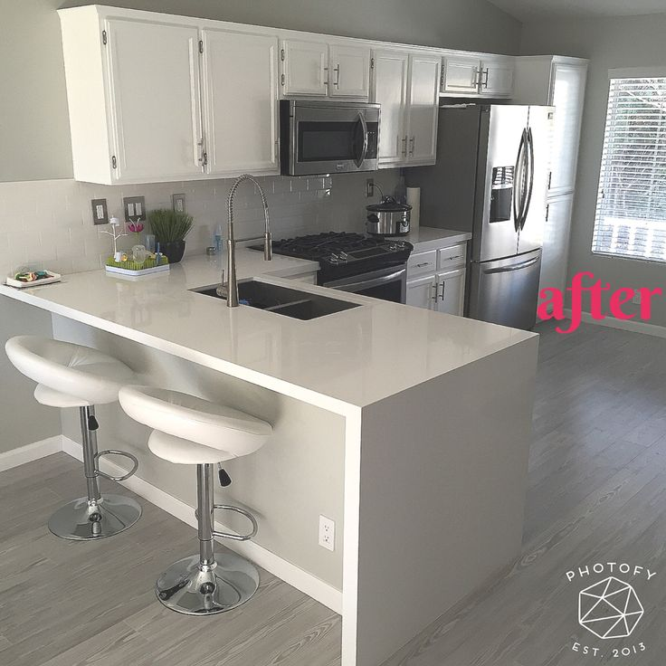 After Remodel. White Quartz Countertop. Waterfall