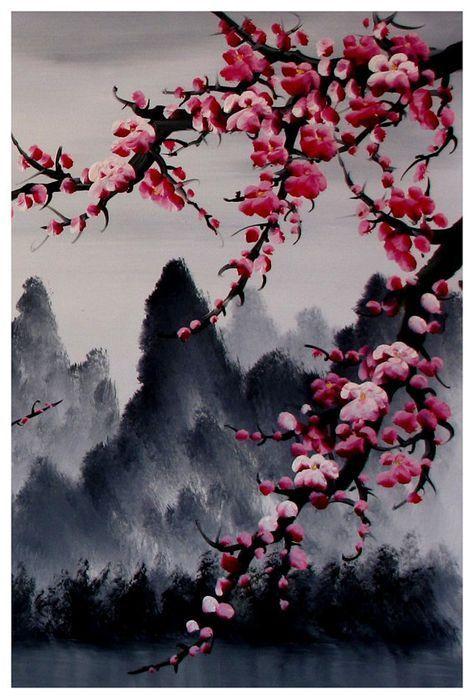 Art de la fleur de cerisier murale fleur de cerisier par Loft817 – Zeichnungen, Gemälde und Kunst