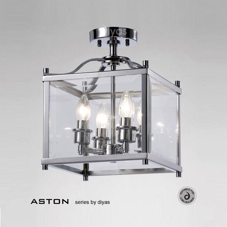 Diyas Il31101 Aston 4 Light Polished Chrome Ceiling Lantern