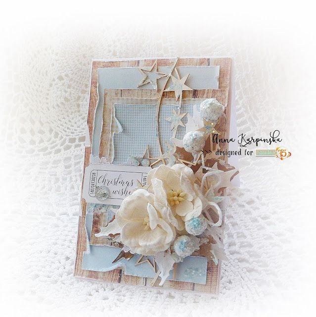 Christmas card in shades of blue and brown